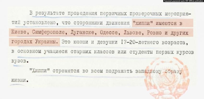 """Zpráva KGB o zapojení ukrajinské mládeže do hnutí """"chippi"""" z 20. května 1969. Zdroj: archiv Služby bezpečnosti Ukrajiny"""