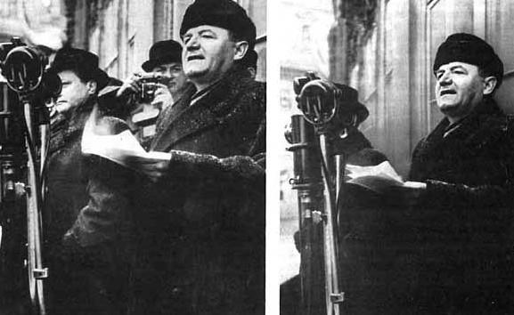 Vlado Clementis a fotograf Karel Hájek vedle Klementa Gottwalda na fotografii z 25. února 1948 z Václavského náměstí. Za necelé čtyři roky nechal Gottwald Clementise popravit a poté vymazat z fotografie.