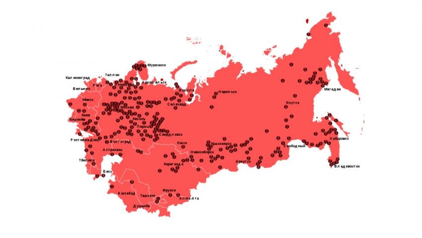 Síť gulagů mezi roky 1923 a 1961. Zdroj: Wikimedia Commons