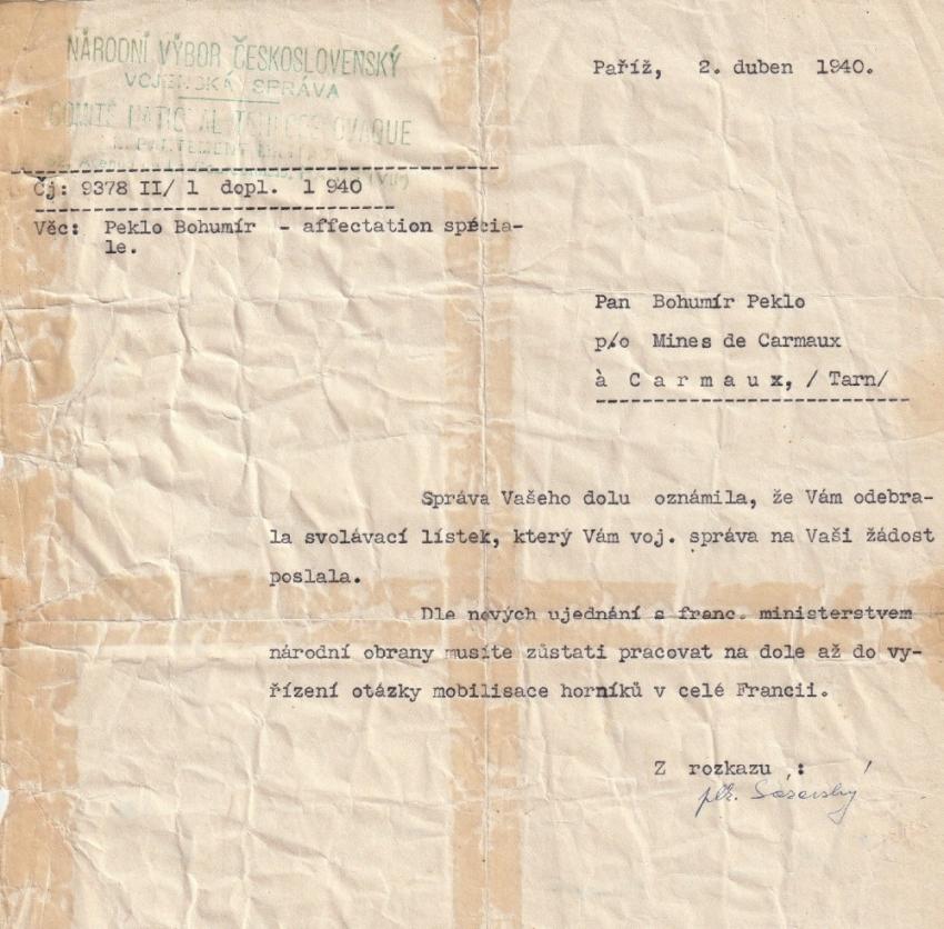 Bohumír Peklo po opakovaných žádostech nastoupil k československé jednotce 12. dubna 1940. Zdroj: Marcela Jurasová