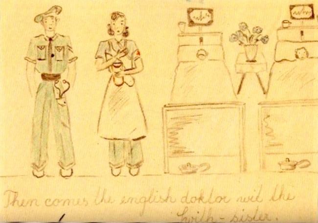 Jedna z kreseb zachycujících jeden den v nemocnici v Bergen-Belsenu. Všechno kresby najdete ve fotogalerii na konci článku. Zdroj: Paměť národa/s laskavým svolením Joanny James a Sally Harris