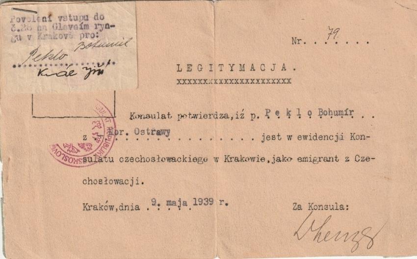 Legitimace emigranta, kterou vydal Bohumíru Peklovi 9. května 1939 československý konzulát v Krakově. Zdroj: Marcela Jurasová