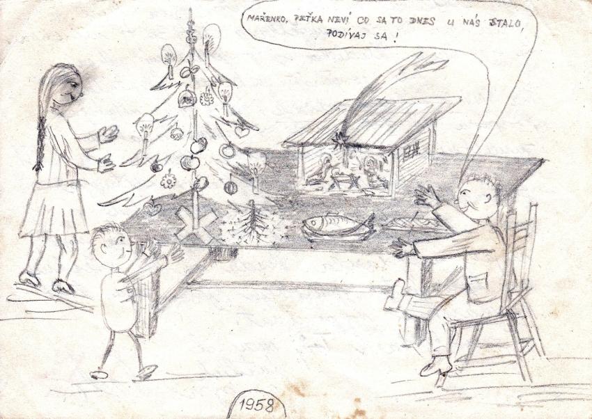 Kresba, kterou poslal svým synům Petr Záleský z vězení v prosinci 1958. Zdroj: Paměť národa