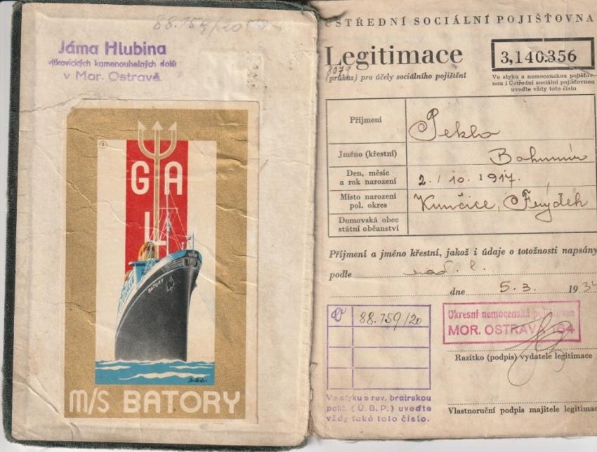 Legitimace Bohumíra Pekla, ve které se uchovala i známka z polské lodě Batory, jenž československé vojáky dopravila v květnu 1939 z Gdyně do Francie. Zdroj: Marcela Jurasová