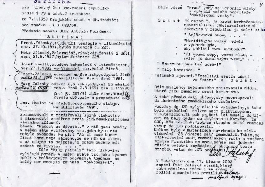 Obžaloba Petra a Františka Záleských. Zdroj: Paměť národa