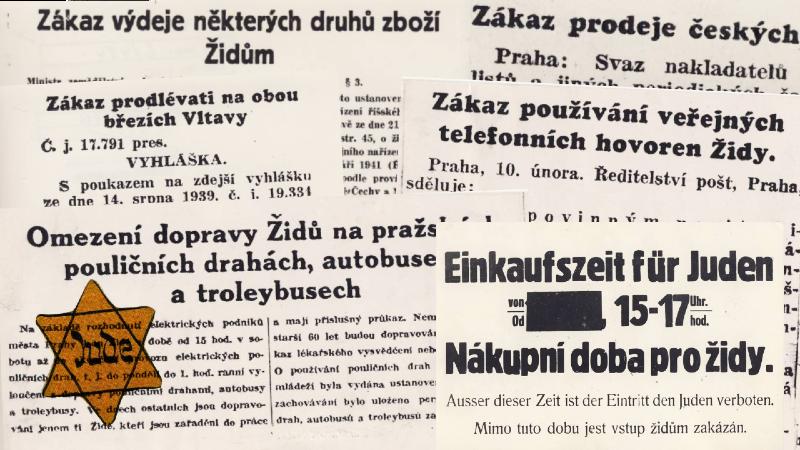 Během protektorátu byly vydány stovky nařízení omezující práva občanů židovské národnosti.