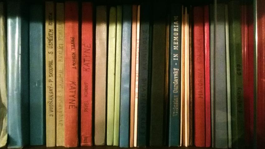 Samizdatové knihy Tatjany Dohnalové, která od roku 1978 přepisovala knihy pro samizdatovou edici Popelnice Jiřího Gruntoráda. Za jedenáct let přepsala 60 samizdatových knih a po celou dobu se jí podařilo zůstat v naprostém utajení. Foto: Paměť národa