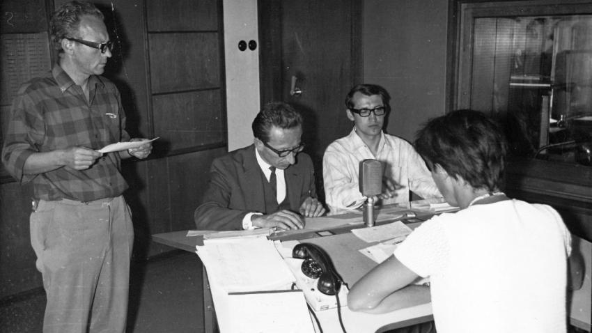 Vysílání Československého rozhlasu v Plzni ve dnech 21. -29. 8. 1968.  Foto: Milan Marko/Paměť národa