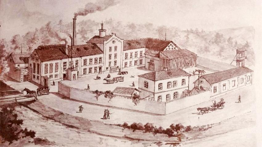 Rožnovský pivovar na historické kresbě. Zdroj: Paměť národa