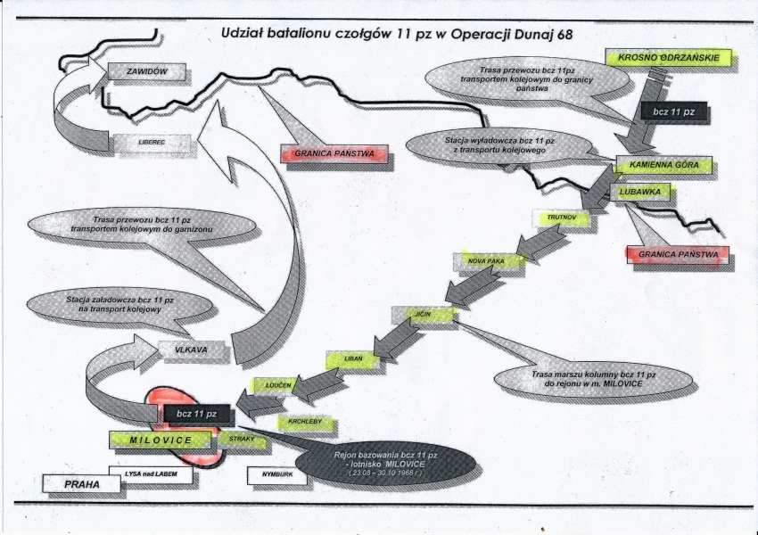 Trasa, po které jel pluk Tadeusze Oratowského do Milovic a z Milovic.