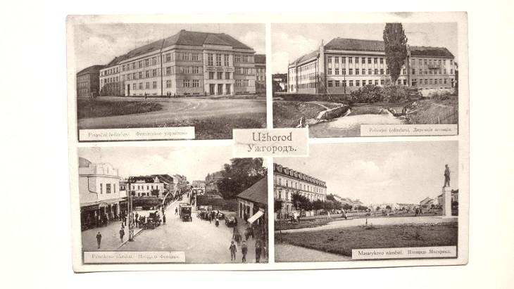 Užhorod na pohlednici z doby první republiky, kdy Podkarpatská Rus byla součástí Československa.