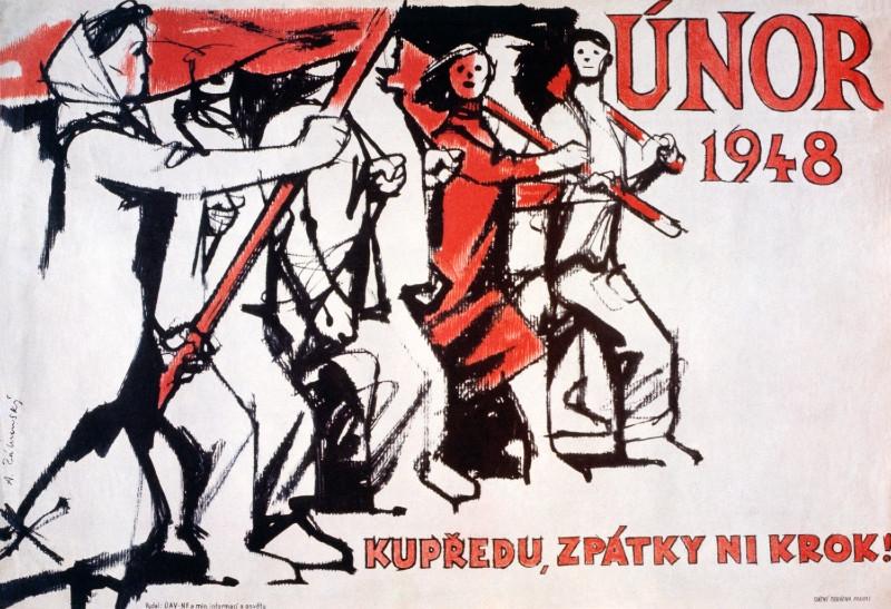 Plakát Adolfa Zábranského z roku 1948 oslavující tzv. vítězný únor. Zdroj: Muzeum moderního umění v New Yorku