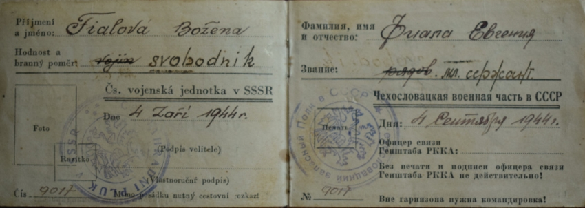 Vojenská legitimace Boženy Ivanové, za války Fialové