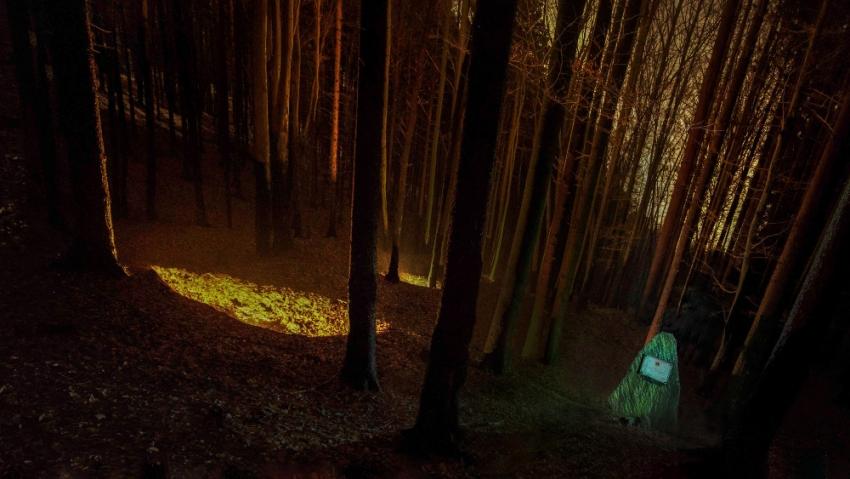 Jáma po zemljance v lese nad Lipovcem s žulovým pomníkem. Foto: Tomáš Kubelka