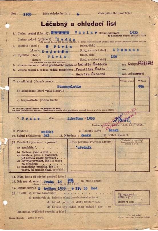 Ohledací list o stavu těla Václava Švédy po popravě 2. května 1955. Zdroj ÚSTR/Wikipedie