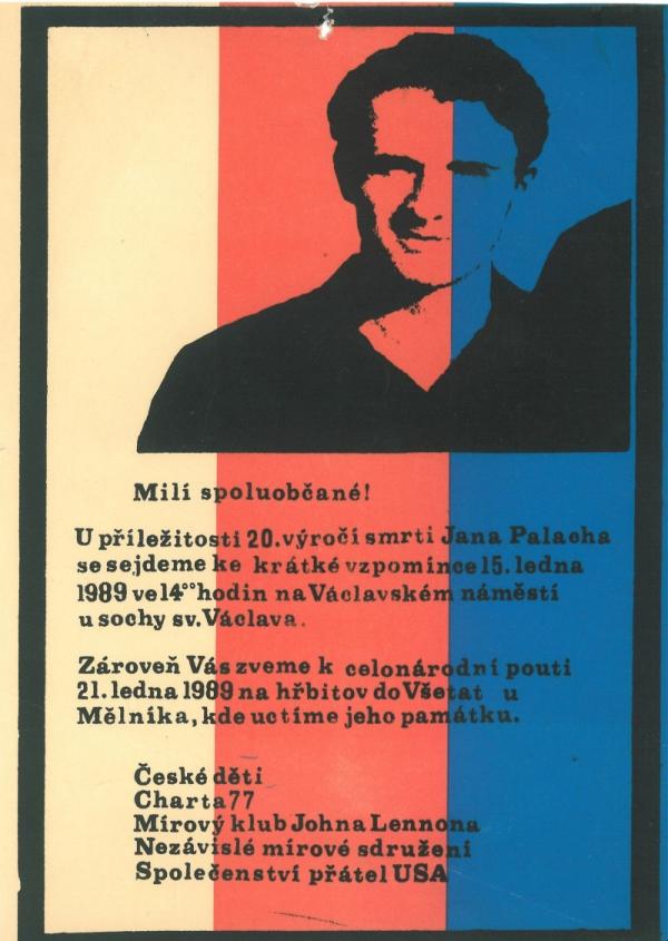 Leták na shromáždění 15. ledna 1989, jehož rozehnání odstartovalo týdenní sérii protestů známou jako Palachův týden. Zdroj: Paměť národa