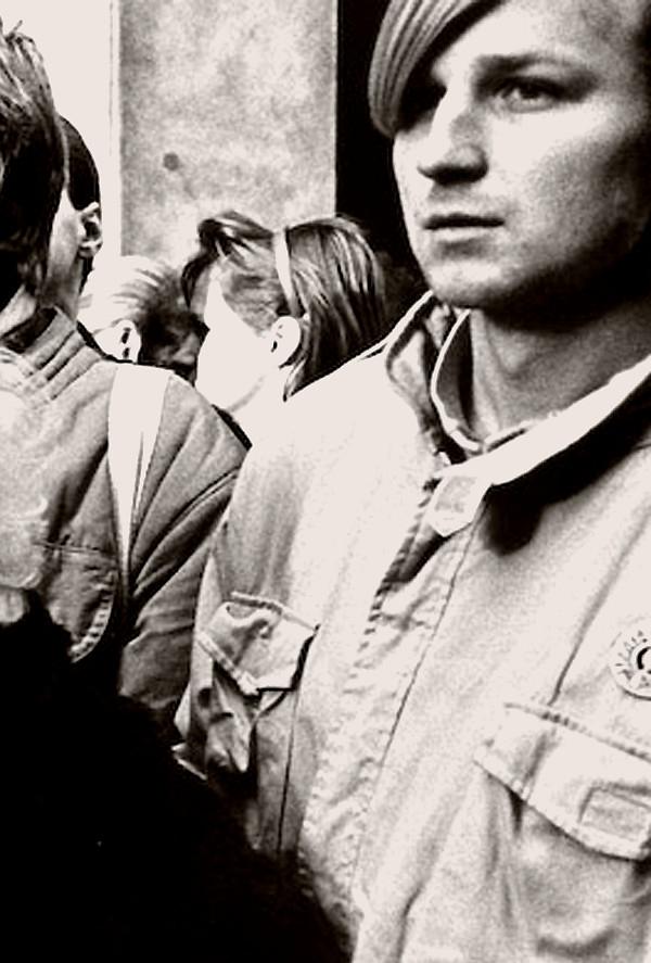 Petr Novotný na demonstraci během Palachova týdne. Foto Lubomír Kotek