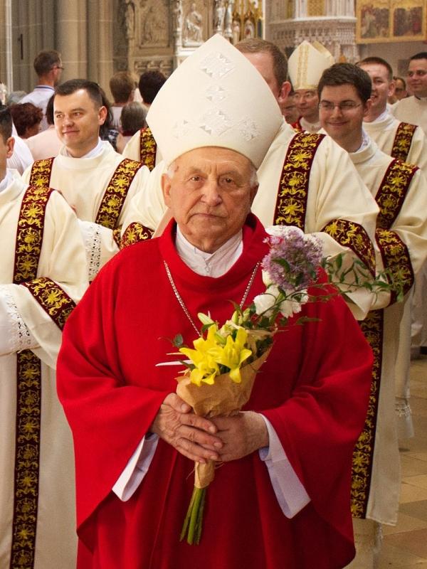 Jeho Excelence Alojz Tkáč v katedrále svaté Alžběty v Košicích (2019). Zdroj: Petinoh, CC BY-SA 4.0