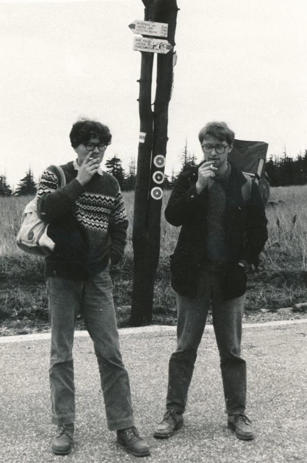 Alexandr Vondra (vlevo) a Jáchym Topol v Krkonoších