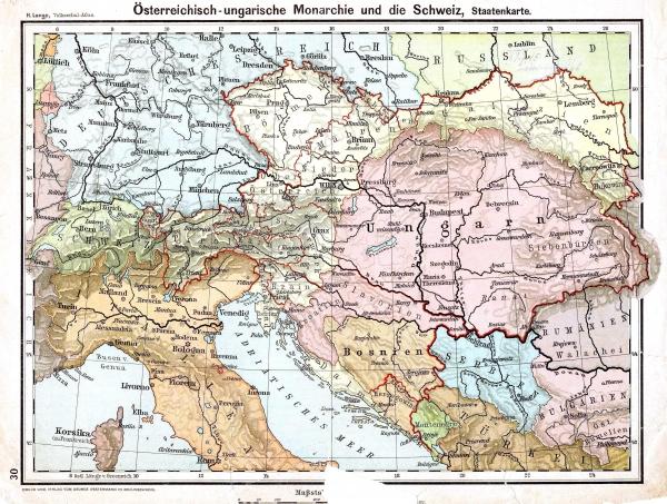 Mapa Rakousko-Uherska z roku 1899. Foto: Wikimedia Commons