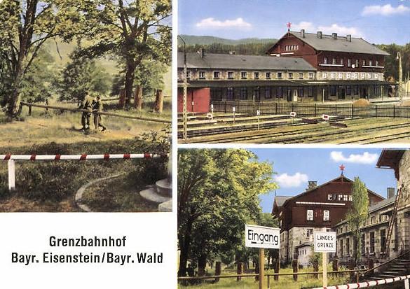 Nádraží na hranicích v Železné Rudě na německé pohlednici.