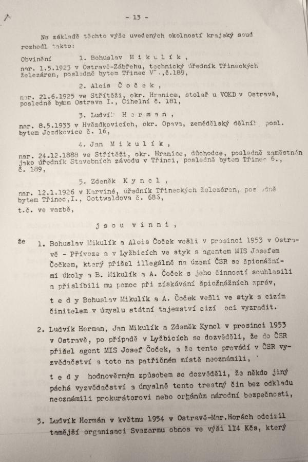 Soudní spis Aloise Čočeka. Foto: Paměť národa