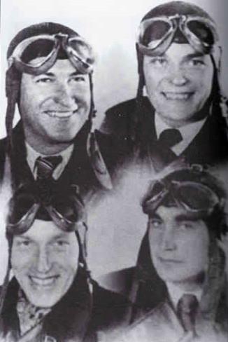 Český čtyřlístek: nahoře zleva: Vilém Košař († 8. 11. 1940) a Matěj Pavlovič († 20. 4. 1941), dole zleva: Josef Balejka († 7. 7. 2004) a Josef František († 8. 10. 1940)
