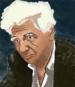 Filozof Jacques Derrida na kresbě Pabla Secca. Zdroj: Wikimedia Commons CC BY 3.0