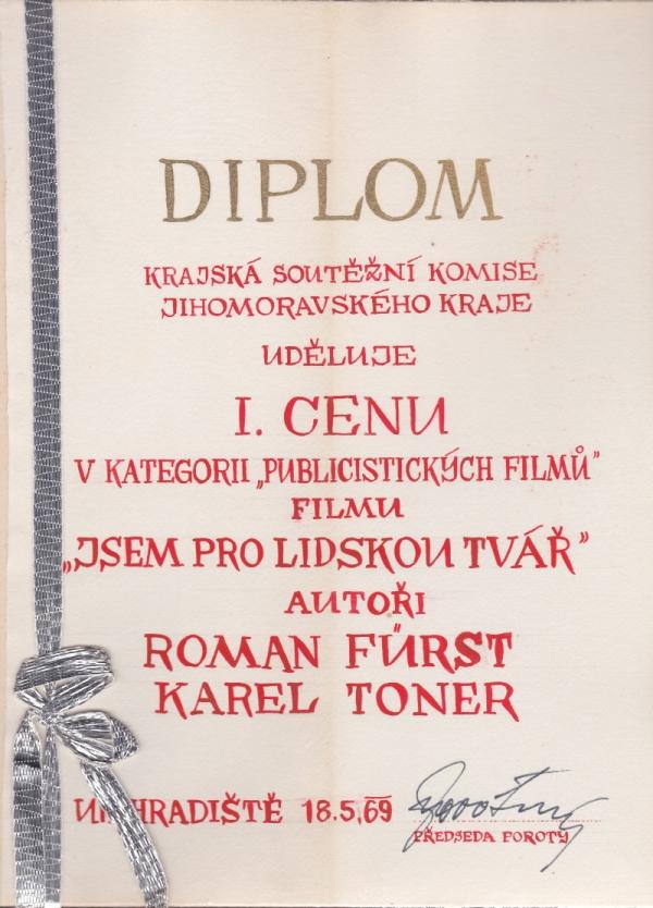 Diplom za dokumentární filmu Jsem pro lidskou tvář. Zdroj: Rostislav Šíma