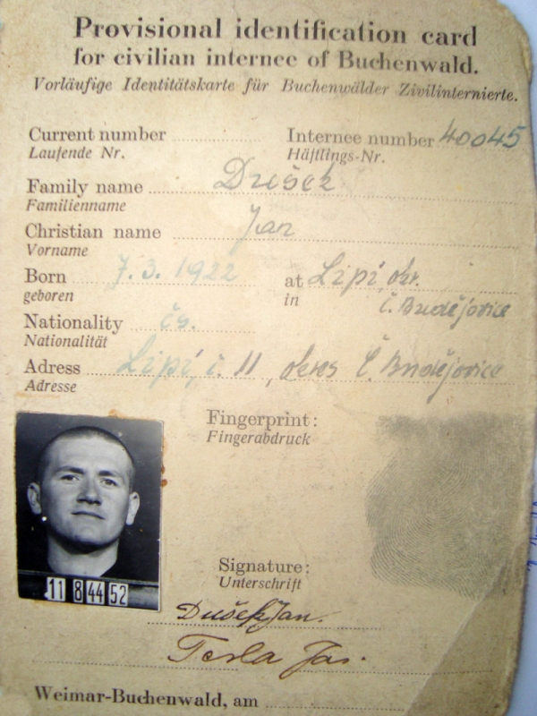 Legitimace Jana Duška v Buchenwaldu. Zdroj: Paměť národa