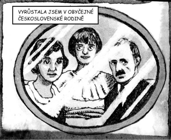 Anita s rodiči v komiksu Ještě jsme ve válce. Kresba Miloš Mazal