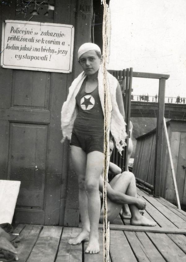 František Miška jako mladý plavec v roce 1931.
