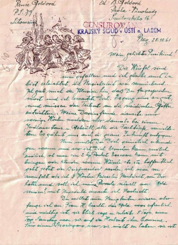 Dopis Renée Goldové matce z vazby v Litoměřicích. Zdroj: archiv Noemi Zárubové