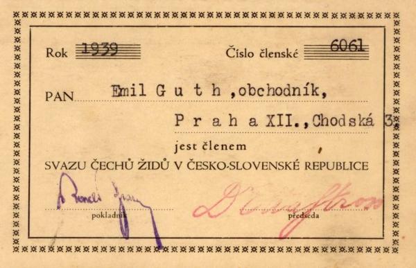 Průkaz Milošova tatínka Emila.