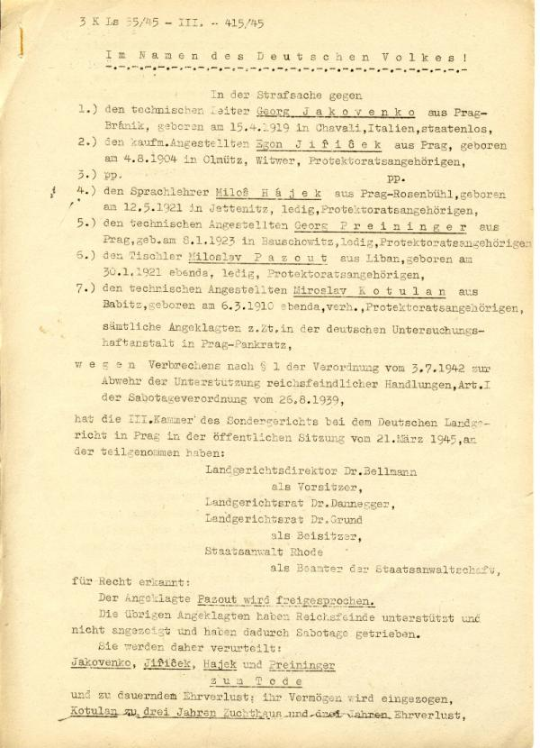 Rozsudek smrti nad Hájkem 1945 prvni strana. Zdroj: Paměť národa