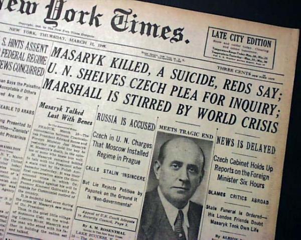 Zpráva o smrti Jana Masaryka na první straně amerického deníku The New York Times: Masaryk zabit. Sebevražda, tvrdí komunisté. Foto: CC-BY-SA-4.0S
