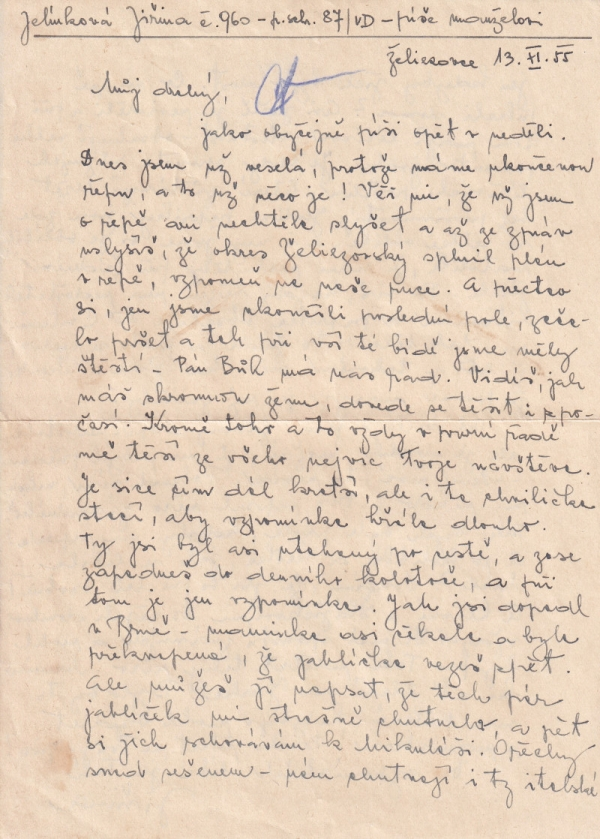 Cenzurovaný dopis Jiřiny Jelínkové z Želiezovců. Foto: Paměť národa