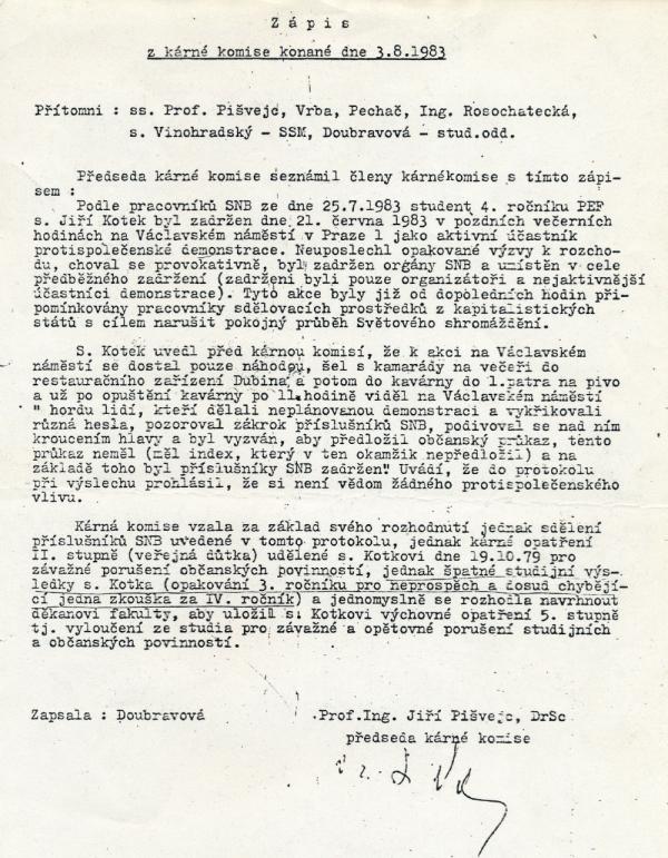 Zápis kárné komise z 3. srpna 1983, která Jiřího Kotka vyloučila z vysoké školy. Foto: Paměť národa/archív Jiřího Kotka