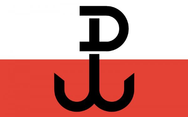 Vlajka Zemské armády se symbolem kotvy představující písmena PW ve zkratce Polska Walcząca (Bojující Polsko). Po válce komunistický režim symbol protinacistického odboje zakázal, v 70. letech se stala tzv. kotwica znakem protikomunistického odboje.