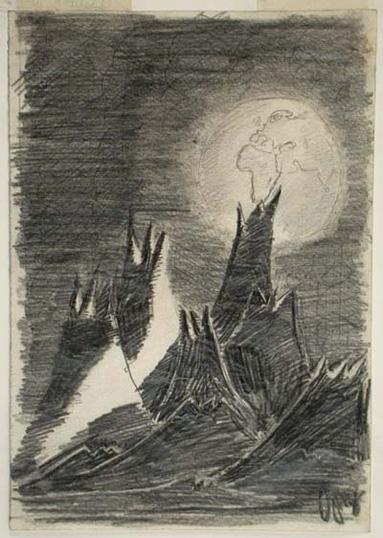 Pohled z Měsíce na planetu Zemi nakreslil Petr Ginz v Terezíně mezi 1942-44 pro časopis Vedem. Zdroj: Muzeum Yad Vashem