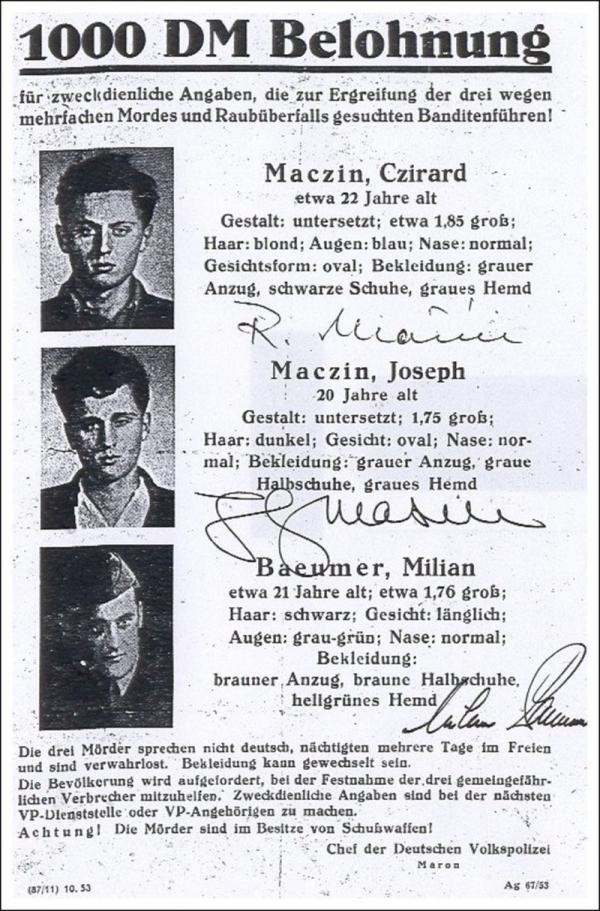 Plakát s hledanými bratry Mašínovými a Milanem Paumerem ve východním Německu. Foto: Paměť národa/archív Zdeny Mašínové