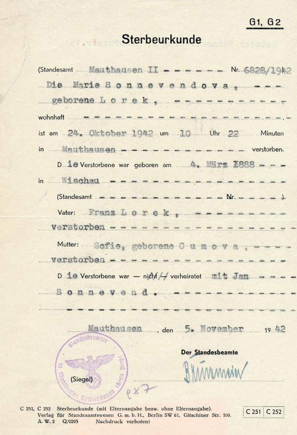 Úmrtní list Ludmily Ryšavé, která byla ve skupině odbojářů popravených 24. října 1942