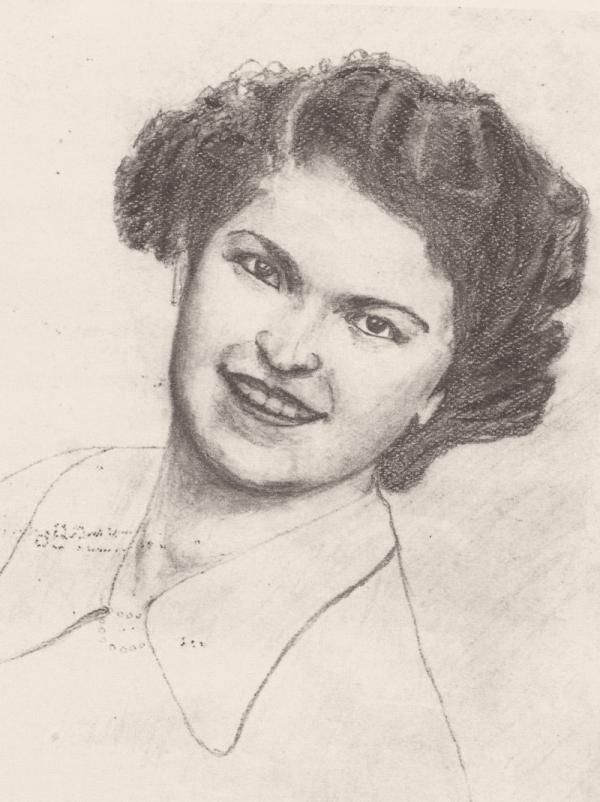 Portrét budoucí manželky Růženy nakreslený Ladislavem v pracovním táboře.