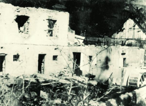 Usedlost po vypálení. Zdroj: obec Leskovec