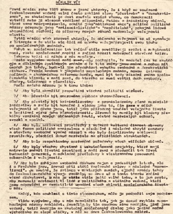 Několik vět na jedné z mnoha kopií, které kolovaly spolu s petičními archy. Zdroj: Paměť a dějiny/archiv Kamila Černého
