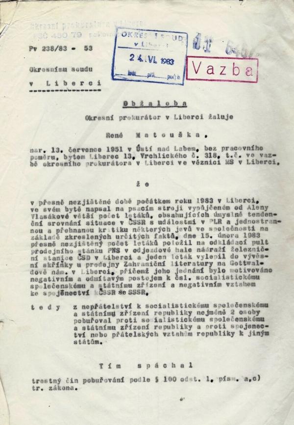 Obžaloba Reného Matouška z roku 1983. Zdroj: Paměť národa