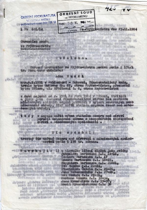 První strana soudního spisu Adama Ruckého. Zdroj: Paměť národa