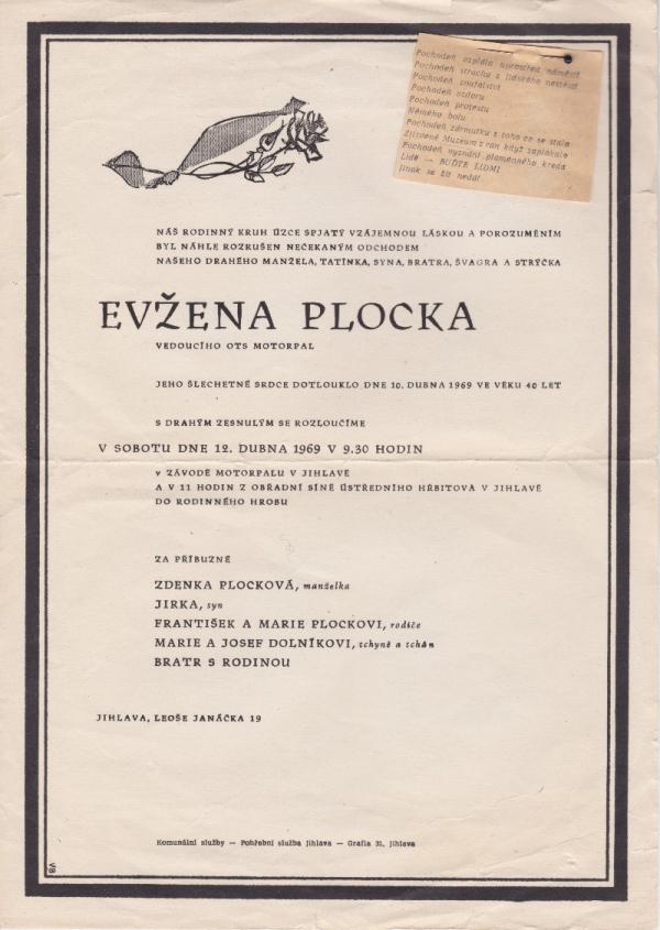Parte Evžena Plocka. Zdroj: Rostislav Šíma