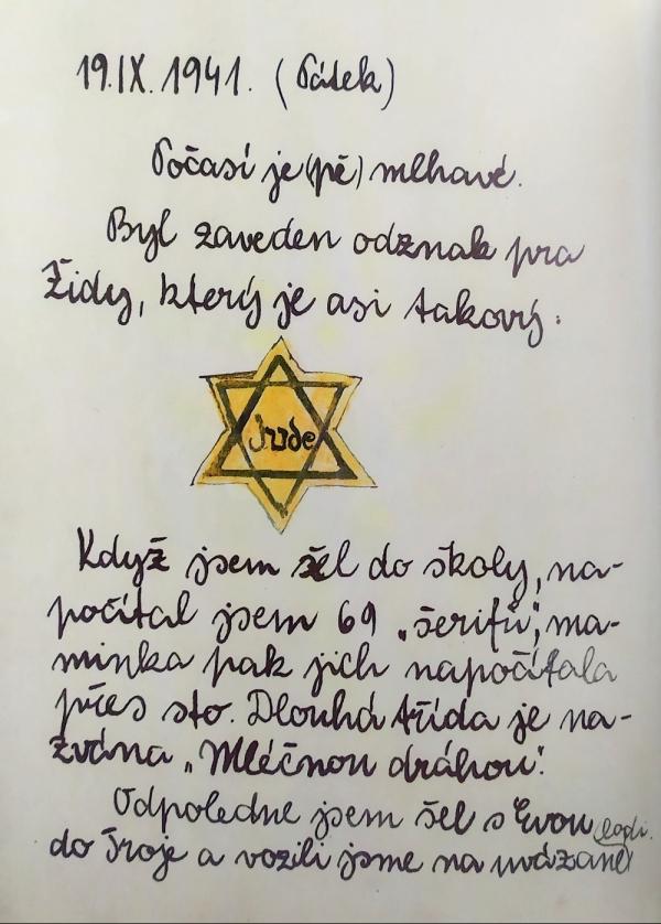 Petrův zápis z deníku z 19. září 1941, kdy vešlo v platnost nařízení nošení židovské hvězdy. Zdroj: Chava Pressburger