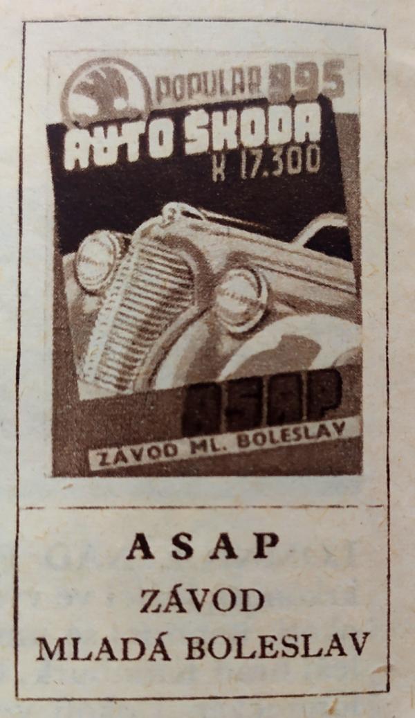 Plakát automobilky Škoda z roku 1939. Zdroj: Paměť národa